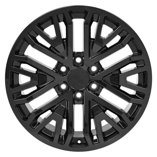 "Gloss Black 20"" Six Split Spoke Wheels for Chevy Silverado, Tahoe, Suburban - New Set of 4"