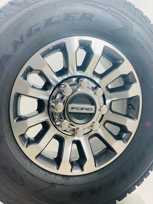 """New Takeoff Ford F250 F350 Super Duty 18"""" Gunmetal And Machine Wheels With Goodyear Wrangler A/T Adventure 275/70R18 Tires"""