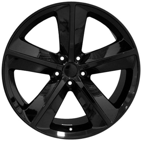 """Gloss Black 20"""" 5 Spoke SRT Replica Wheels for Dodge Charger and Challenger - New Set of 4"""