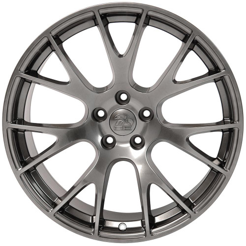 "Hyper Silver 22"" Dodge Hellcat Replica Wheels for Dodge Challenger and Charger - Set of 4"