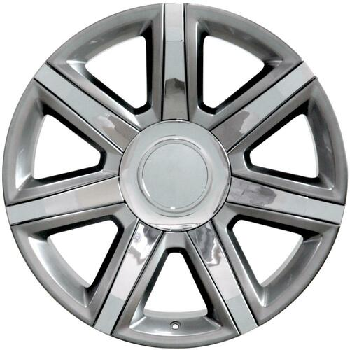 "Hyper Silver 22"" With Chrome Insert Escalade Style Replica Wheels for Cadillac, GMC, Chevy"