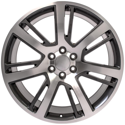 "Gunmetal and Machine 24"" Quarter Split Spoke Wheels for GMC, Chevy, Cadillac 1500 Trucks and SUVs"