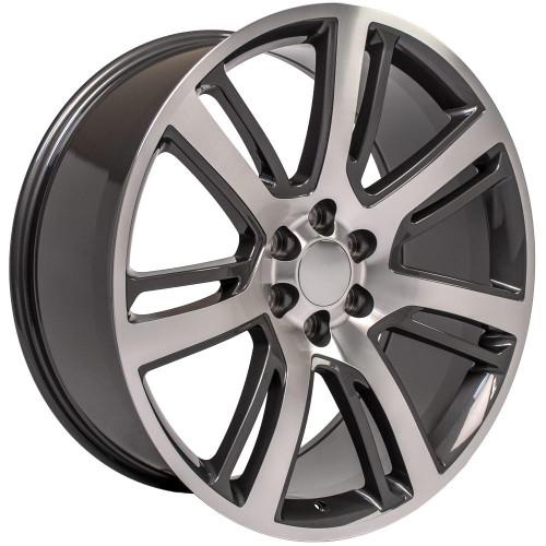 "Gunmetal and Machine 24"" Quarter Split Spoke Wheels for GMC, Chevy, Cadillac 1500 Trucks and SUVs"