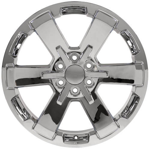 "Chrome 22"" Rally Style Six Spoke Wheels for Chevy Silverado, Suburban, Tahoe - New Set of 4"