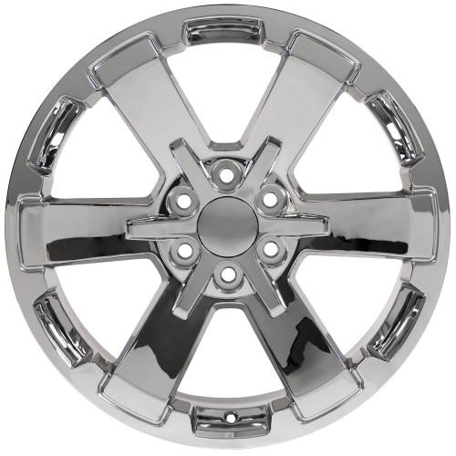 "Chrome 22"" Rally Style Six Spoke Wheels for Chevy Silverado, Suburban, Tahoe - New Set of 4"