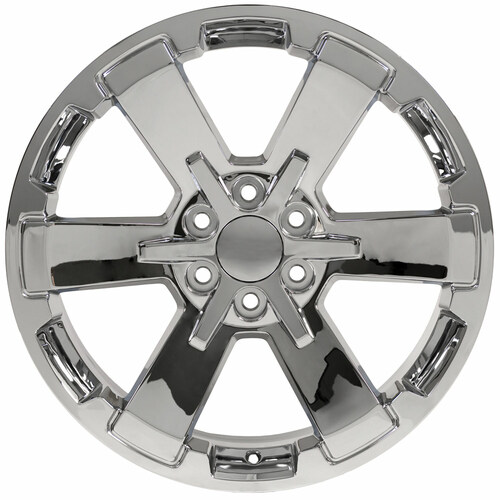"Chrome 22"" Rally Style Six Spoke Wheels for GMC Sierra, Yukon, Denali - New Set of 4"