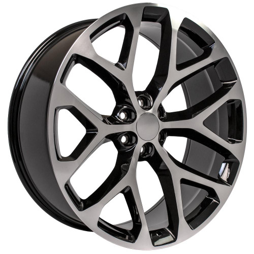 "Black and Machine 26"" Snowflake Wheels for GMC and Chevy 1500 Trucks and SUVs"