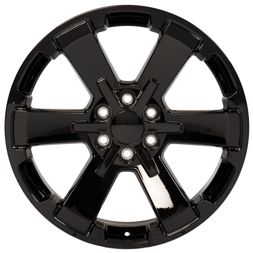 "Gloss Black 22"" Rally Style Six Spoke Wheels for Chevy Silverado, Suburban, Tahoe - New Set of 4"