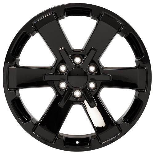 "Gloss Black 22"" Rally Style Six Spoke Wheels for GMC Sierra, Yukon, Denali - New Set of 4"