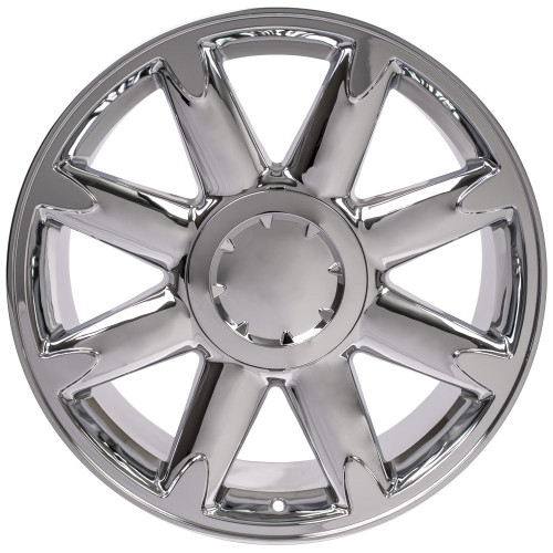 "Chrome 20"" Denali Style Eight Spoke Wheels for Chevy Silverado, Tahoe, Suburban - New Set of 4"