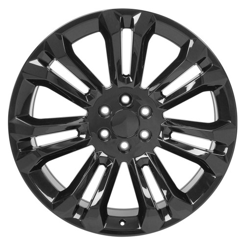 "Gloss Black 24"" Seven Split Spoke Wheels for GMC and Chevy 1500 Trucks and SUVs"
