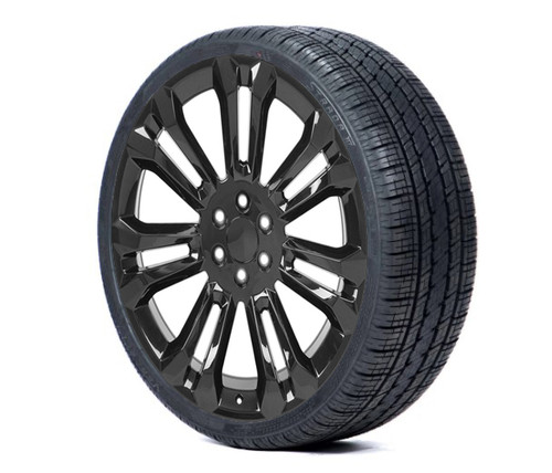 """Gloss Black 24"""" Seven Split Spoke Wheels with 295/35R24 Tires for Chevy and GMC Trucks and SUVs"""