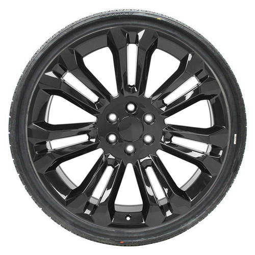 "Gloss Black 24"" Seven Split Spoke Wheels with 295/35R24 Tires for Chevy and GMC Trucks and SUVs"
