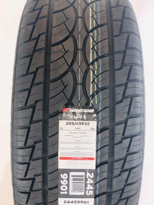 """Gloss Black 22"""" Seven Split Spoke Wheels with 285/45R22 Tires for GMC Sierra, Yukon, Denali - New Set of 4"""