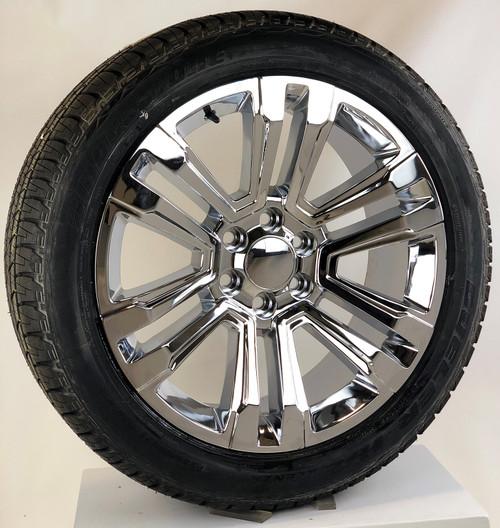 "Chrome 22"" Denali Style Split Spoke Wheels with Bridgestone Tires for GMC Sierra, Yukon, Denali - New Set of 4"