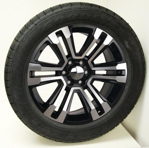 "Black and Machine 20"" Denali Style Split Spoke Wheels with Goodyear Tires for Chevy Silverado, Tahoe, Suburban - New Set of 4"