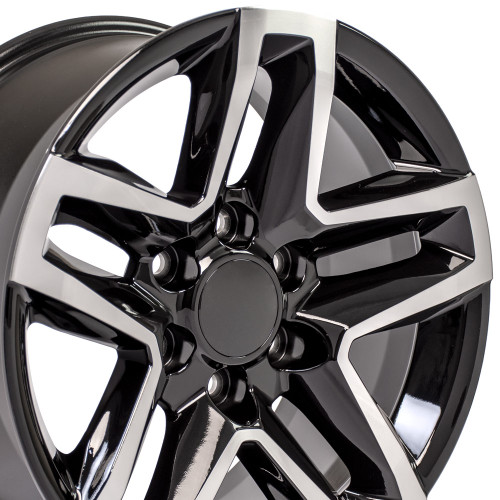 """Black and Machine 18"""" Trail Boss Style Wheels with Nitto Tires for Chevy and GMC Trucks and SUVs - New Set of 4"""