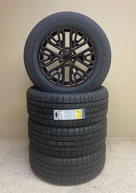 "Gloss Black Milled 20"" Six Split Spoke Wheels with Goodyear Tires for GMC Sierra, Yukon, Denali - New Set of 4"