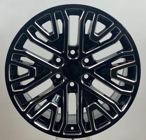 """Black Milled 20"""" Six Split Spoke Wheels for GMC Sierra, Yukon, Denali - New Set of 4"""