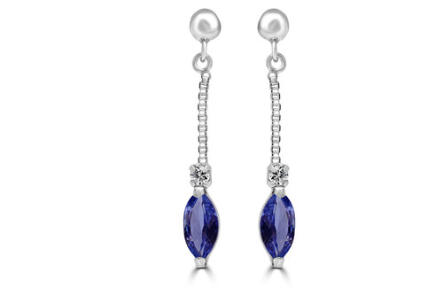 Tanzanite And Diamond Drop Earrings In 18Ct White Gold