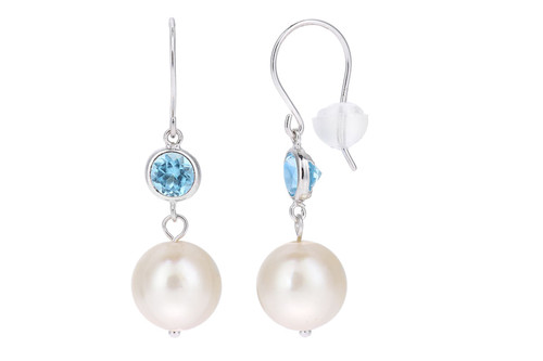 Pearl Drop Earrings With Blue Topaz In 18Ct White Gold