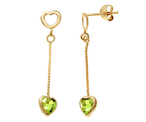 Heart Shaped Natural Gemstones Set In Yellow Gold Chain Drop Earrings,Purple Amethyst, Green Peridot,Yellow Citrine Or Blue Topaz You Decide.