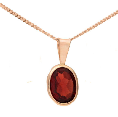 Yellow Gold Necklace Pendant With Choice Of Large Oval 1 Carat Rubover Set Amethyst, Garnet Or Citrine In Presentation Box