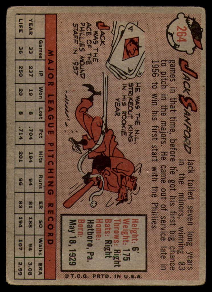 1958 Topps #264 Jack Sanford VG