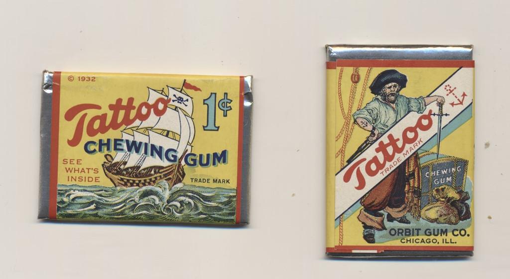 1932 ORIG. ORBIT PIRATE GUM TATTOO UNOPENED WAX PACK YELLOW  1 CENT  #*