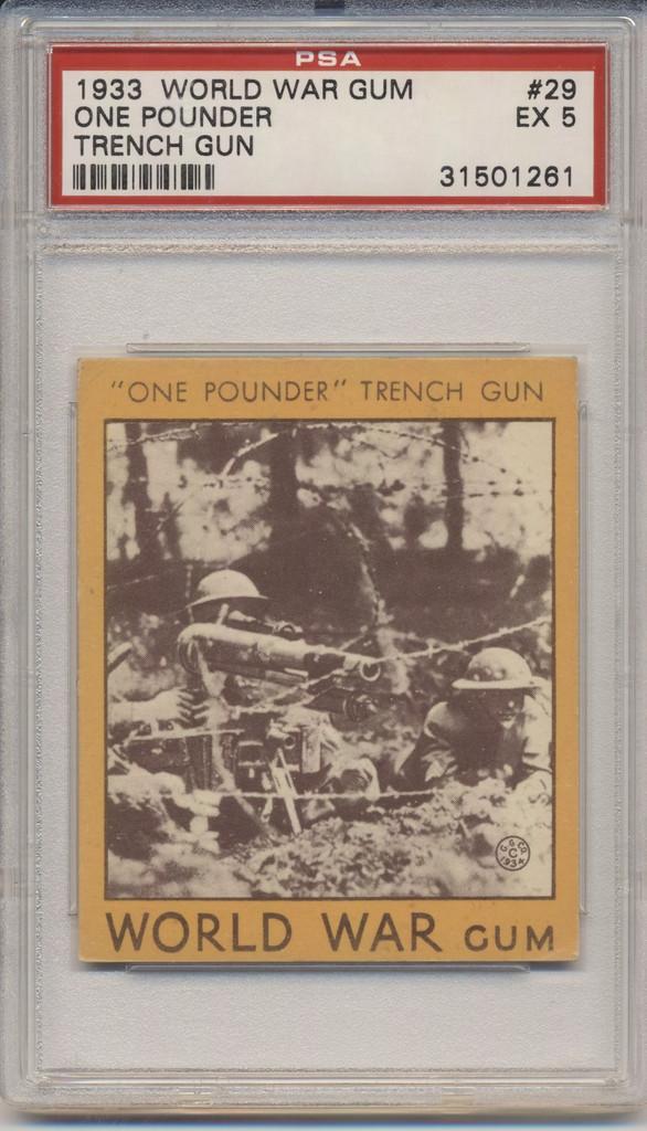 1933 World War Gum R174 #29 One Pounder Trench Gun PSA 5 EX  #*