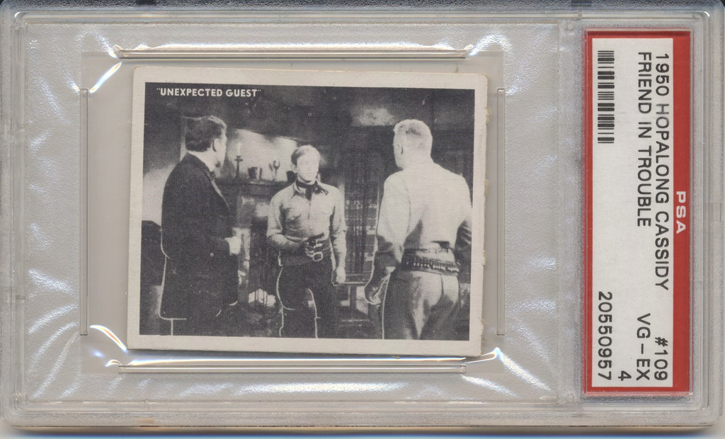 1950 TOPPS HOPALONG CASSIDY #109 FRIENDS IN TROUBLE PSA 4 VG-EX  #*