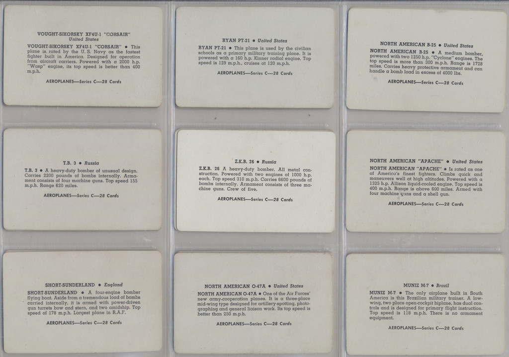 1940's Leaf Brand Inc R112-4a Card-O Aeroplane Series C Set 28  #*
