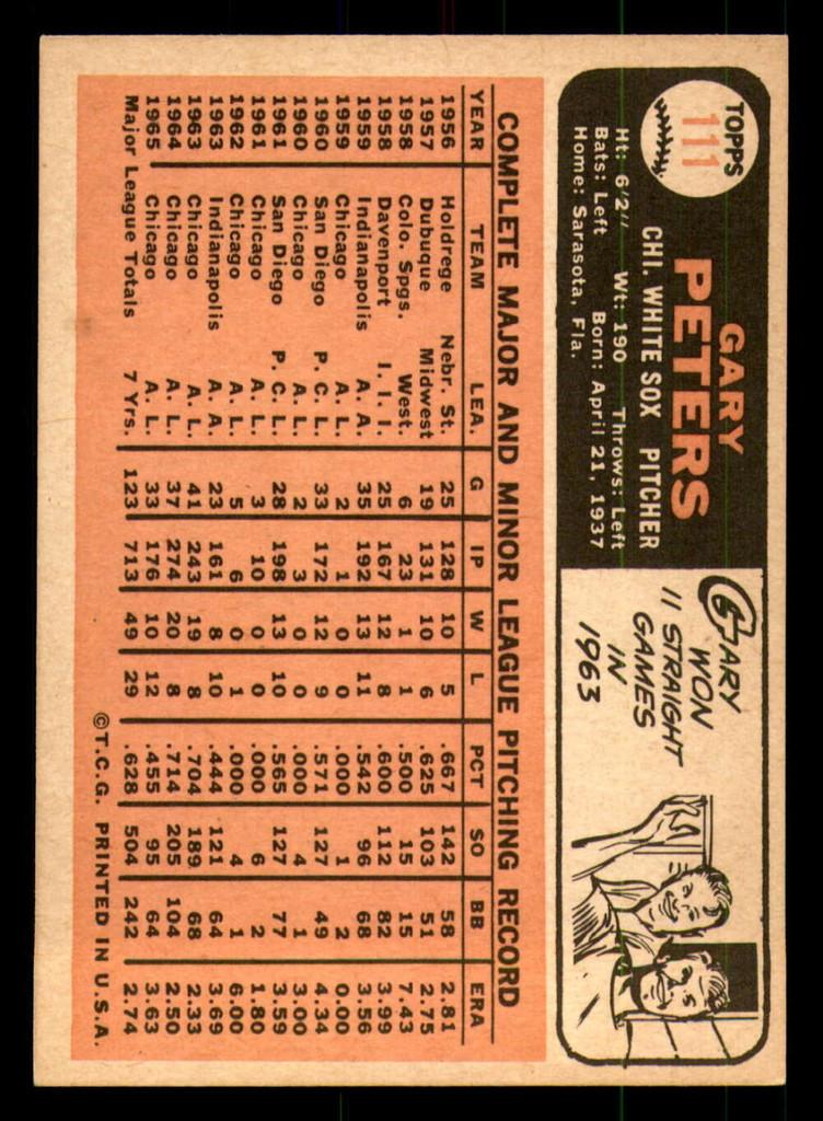 1966 Topps #111 Gary Peters Near Mint