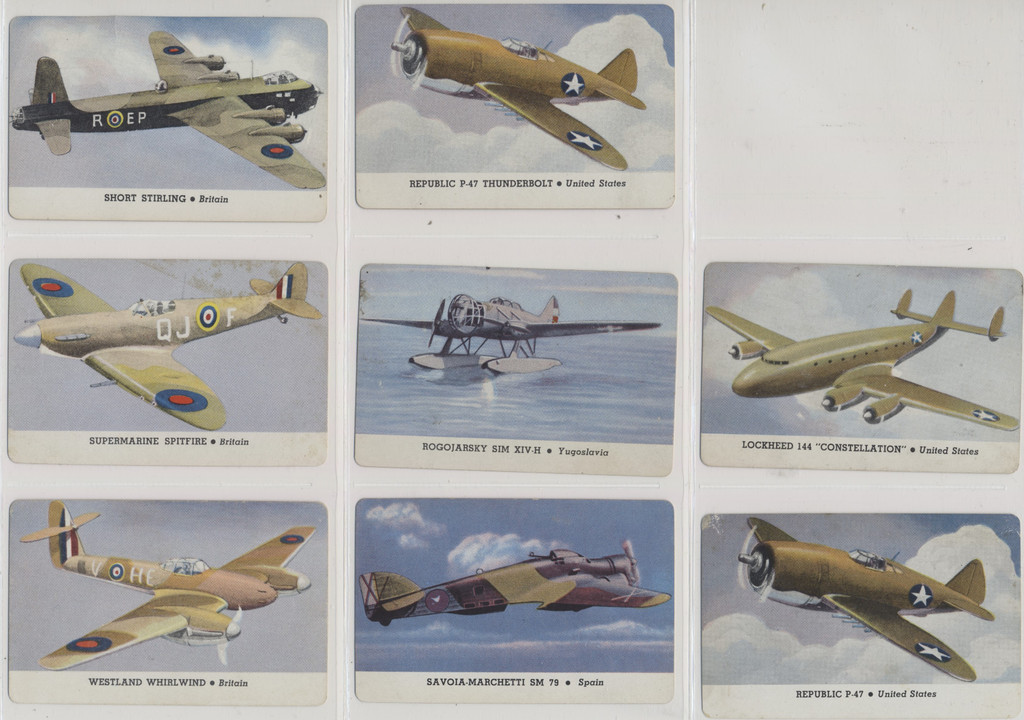 1940's Leaf Brand Inc R112-5b Card-O Aeroplane Series D Card O Chewing Gum Back Lot 25/27  #*