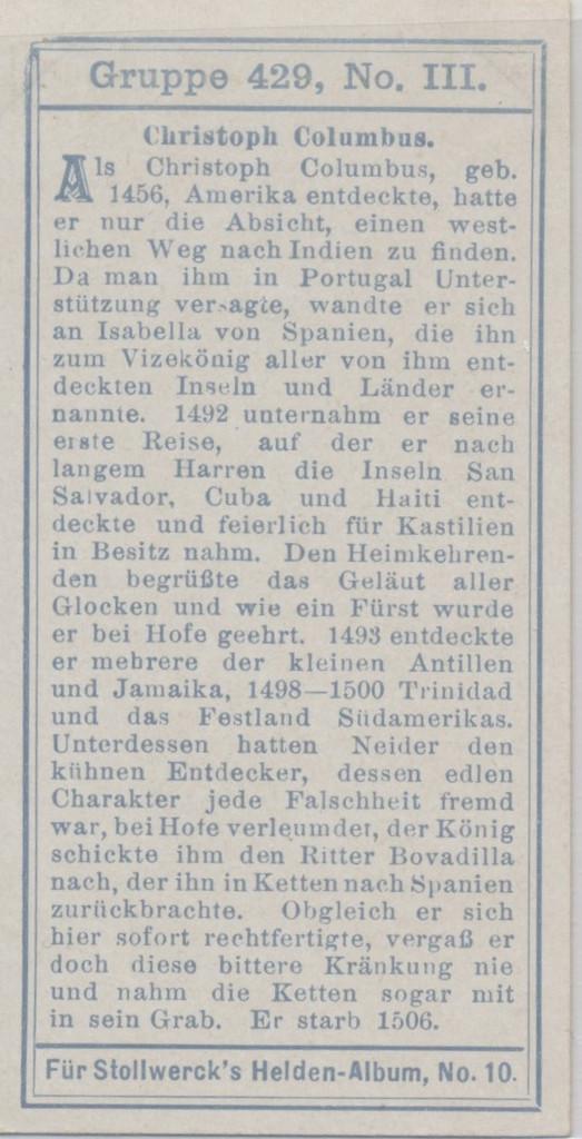1905 Stollwerck Germany Group 429 Explorers #3 Christopher Columbus  #*