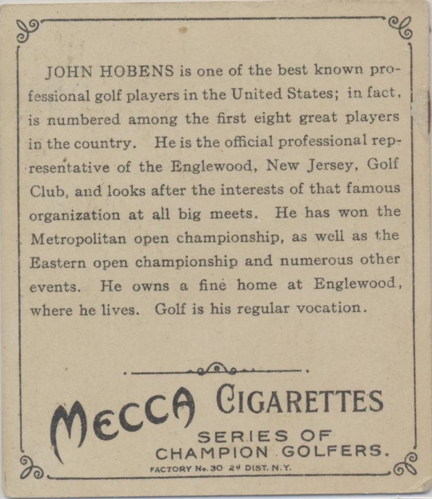 1910 T218 Champions John Hobens Golfer  #*