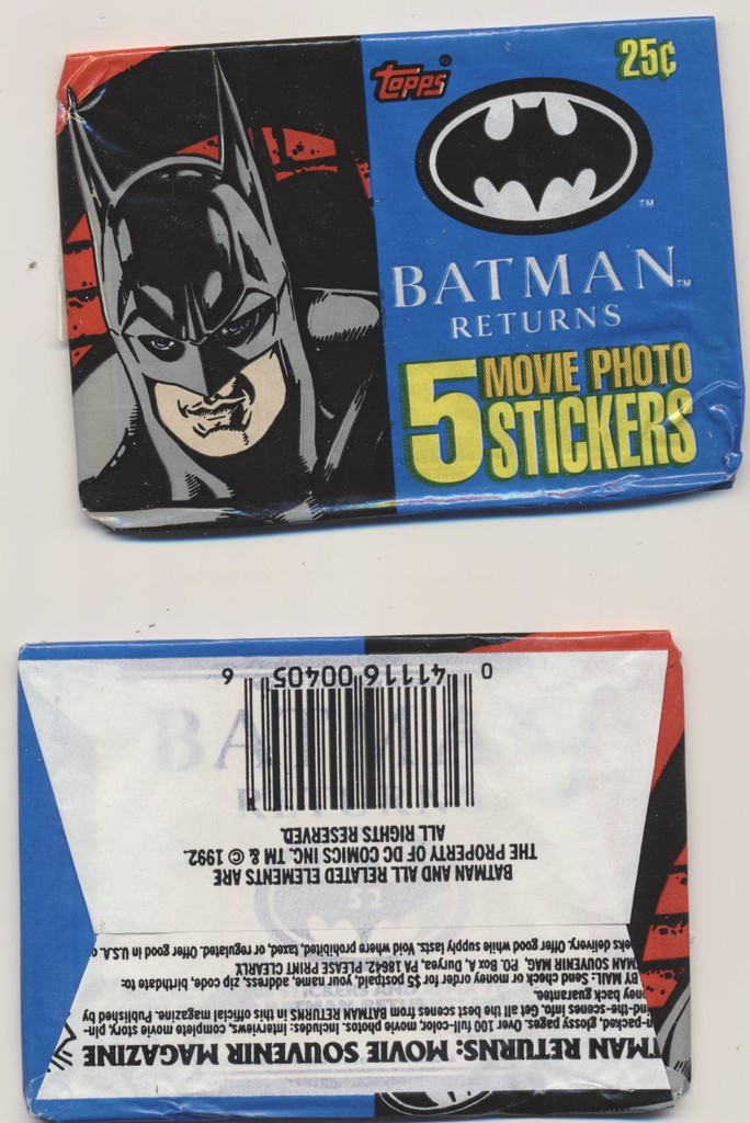 1992 Topps Batman Returns Movie Photo Stickers Wax Box Lot Of 3 Wax Packs  #*