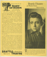 "1955 Brattle Theatre ""East Of Eden"" Dedicates 2 Weeks To James Dean 8 by 9 1/4 inches"