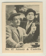 1957 African Consolidated Theatres Film Stars #47/54 Abbott & Costello Nr-Mt
