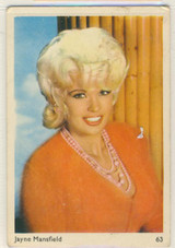 1960 Leaf Confectionery Famous Artistes #63/90 Jayne Mansfield Blank Back