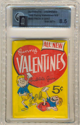 """1960  Topps Funny Valentines 5 Cents Wax Pack GAI 8.5 NM-MT+  """""""""""