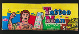 """1960 Philly Gum Tattoo Man 5 Cents Empty Disp;ay Box  """""""""""