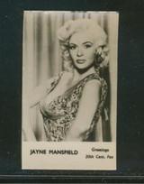1960 Greeting Gilm Stars & Entertainment Glossy Jayne Mansfield Ex-Mt Blank Back