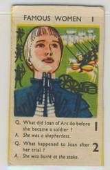 1961 Quaker Oats U.K. Famous Women #1 Joan Of Arc Ex Blank Back
