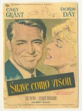 1962 Film Poster Suave Como Vison Cary Grant & Doris Day Vg  #*
