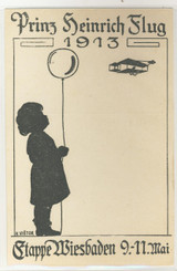 Wright Brothers German Post Card Biplane, With Child With Balloon