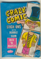 """1979 Philly Crazy Comic Stick-Ons Blue Wrapper Wax Pack  """""""""""