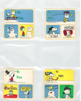 1980's Charlie Brown & Snoopy Christmas Gift Tages w/ 2 Stickers  Lot 10 Different  """"