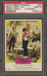 1978 THREE'S COMPANY #40 GOLLY JACK (STICKER) PSA 9 MINT   #*