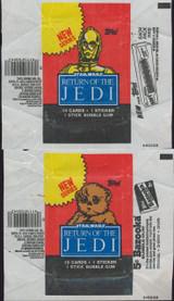 """1983 TOPPS STAR WARS RETURN OF THE JEDI (4) DIFFERENT WRAPPERS   """""""""""